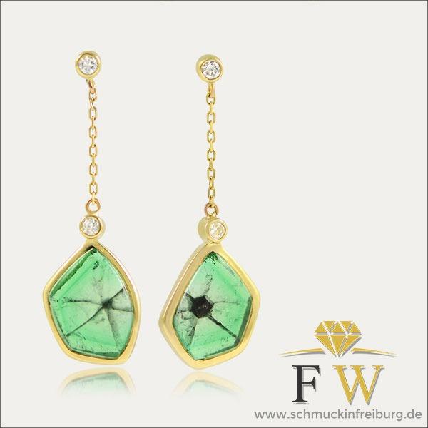 trapiche smaragd emerald gold grün green ohrringe ohrhänger ohrschmuck brillant earrings schmuck handmade handarbeit goldschmied freiburg Kolumbien colombia esmeralda trapichesmaragd trapicheohrringe