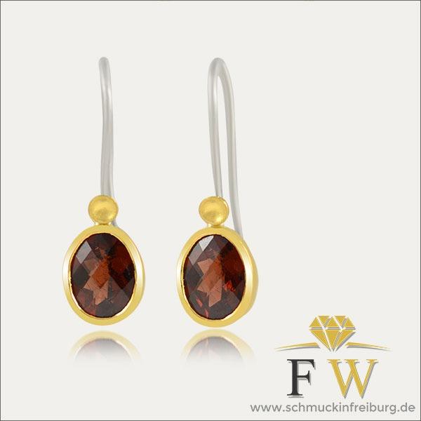 granat ohrhänger earrings ohrschmuck gold silber silver rot red schmuck handmade handarbeit goldschmied freiburg