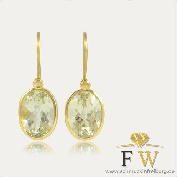 goldberyll ohrhänger ohrschmuck earrings gold weiß white schmuck handmade handarbeit goldschmied freiburg
