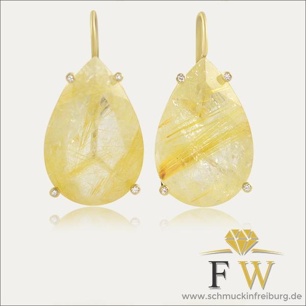 rutilquarz ohrhänger ohrschmuck earrings hell brillanten gold schmuck handmade handarbeit goldschmied freiburg