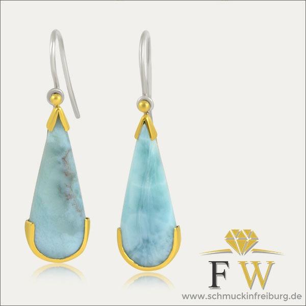 larimar ohrhänger ohrschmuck earrings blau blue gold silber silver schmuck handmade handarbeit goldschmied freiburg
