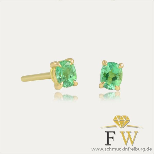 smaragd emerald ohrstecker ohrschmuck earrings grün green gold schmuck handmade handarbeit goldschmied freiburg