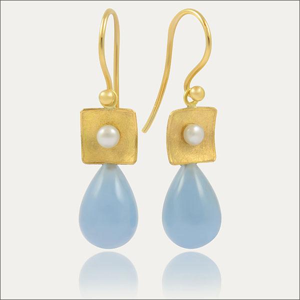 aquamarin ohrhänger aqua earrings gold süßwasserperle pearl blue blau schmuck handmade handarbeit goldschmiede freiburg