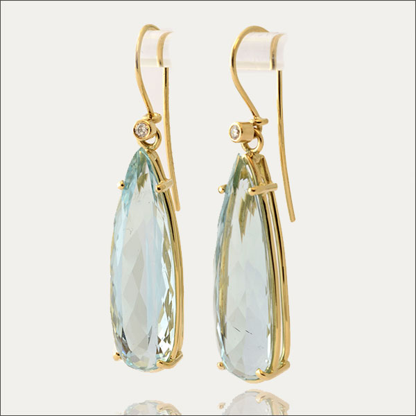 Aquamarin aquamarin ohrhänger ohrringe earrings gold pendientes