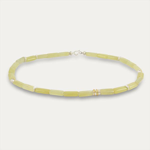 serpentine serpentine kollier collier yellow gelb grün green handmade handarbeit gold silber silver