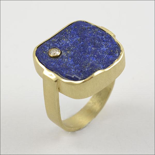 blau brillant ring gold blue schmuck handmade handarbeit lapislazuli
