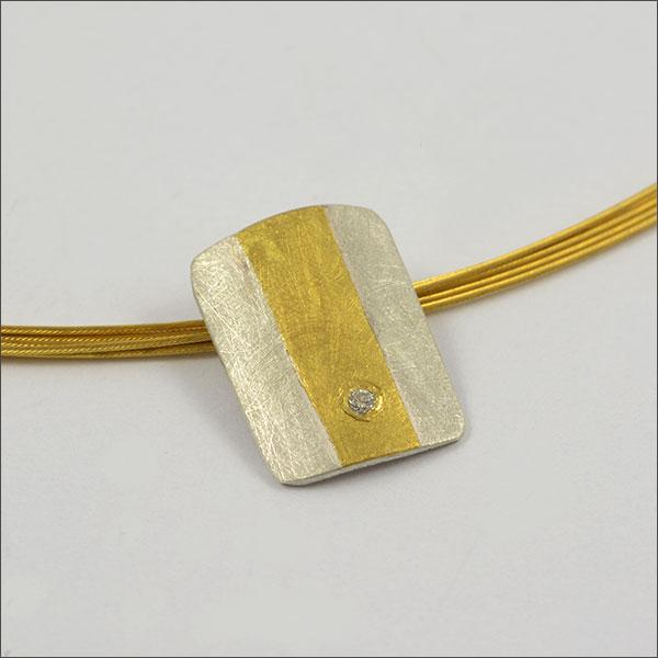 anhänger brillant pendant gold finegold feingold silber schmuck handmade handarbeit