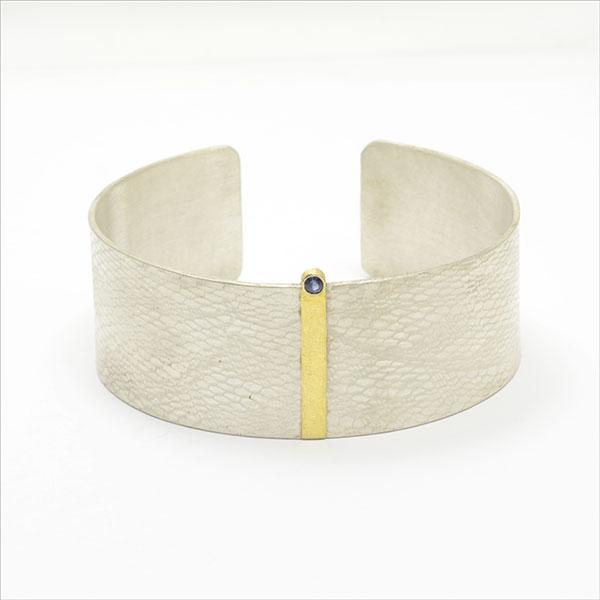 bracelet silver pure gold saphir handmade armreif feingold handarbeit pulsera plata oro safiro