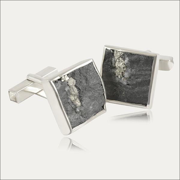 manschettenknöpfe grau grey pyrit silber silver schmuck handmade handarbeit goldschmied freiburg