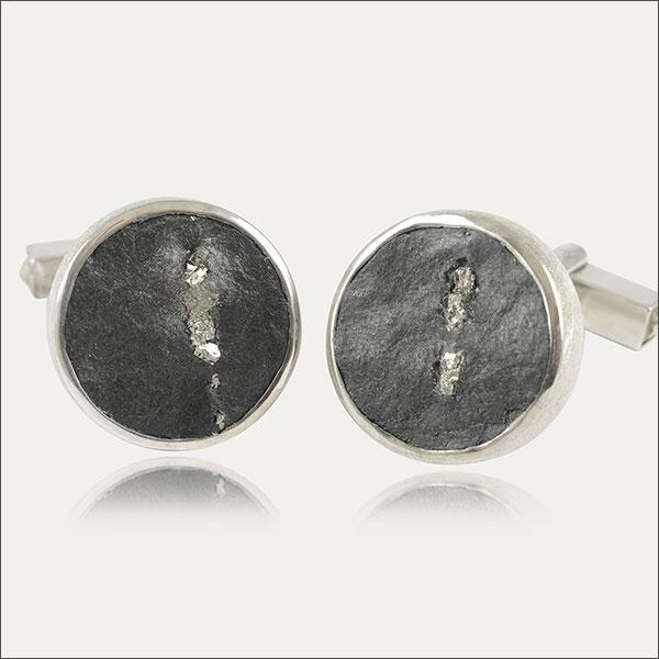 manschettenknöpfe grau grey silber silver schmuck schiefer pyrit handmade handarbeit goldschmied freiburg