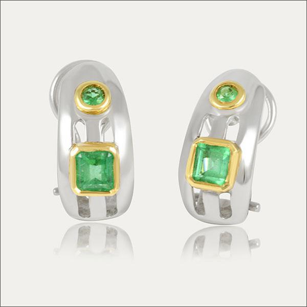 smaragd ohrstecker ohrschmuck earrings gold silber silver grün green schmuck handmade handarbeit goldschmied freiburg