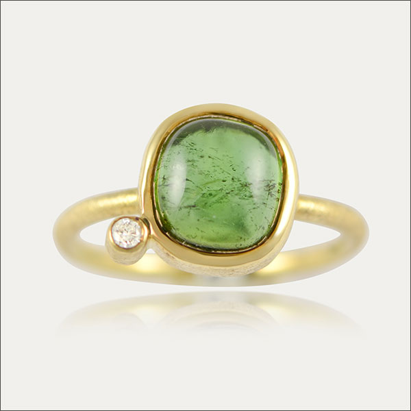 Turmaline ring Turmalin Ring Brillant Diamant brillant diamond gold Gold oro turmalina verde grün green