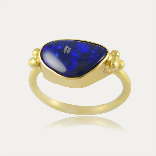 Opal Ring Gold opal ring blue gold azul  blau