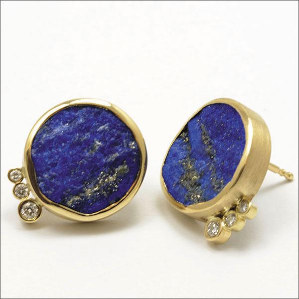 Lapislazuli gold Ohrstecker earring pendiente oro