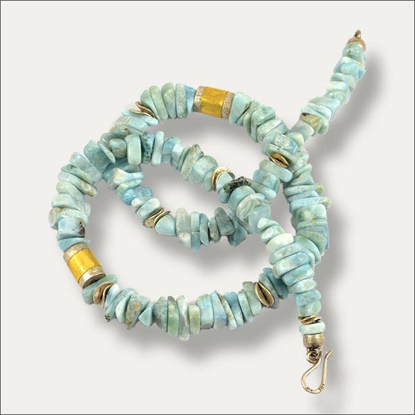 larimar kollier collier blau blue gold silber silver oro schmuck handmade handarbeit goldschmiede freiburg