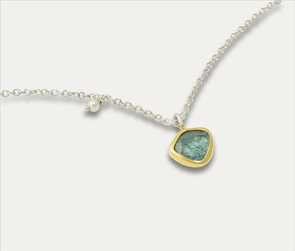 turmalin anhänger tourmaline pendant gold silber silver perle pearl handmade handarbeit schmuck