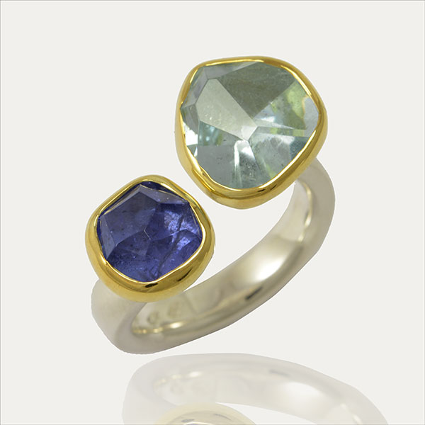 aquamarin tanzanit tanzanite tanzanita aguamarina sortija ring bague plata oro gold silber silver aquamarine