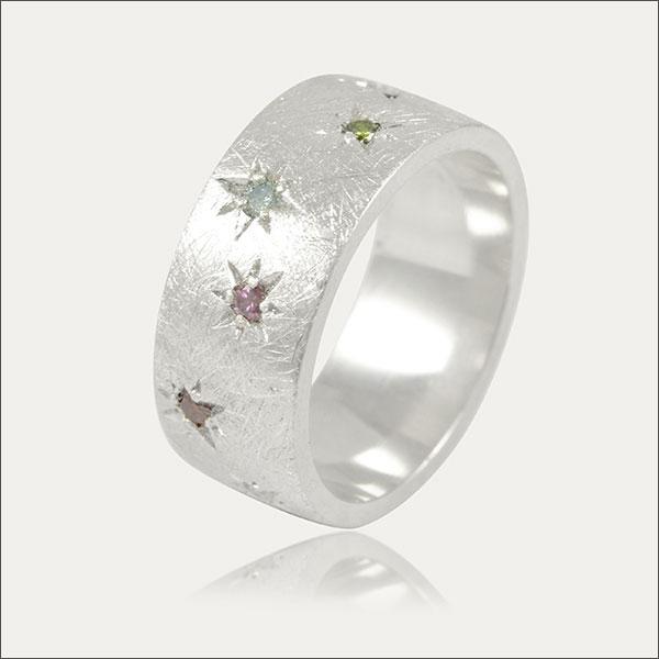 sternenhimmel ring silber silver diamond diamanten bunt colorful handmade handarbeit schmuck goldschmied