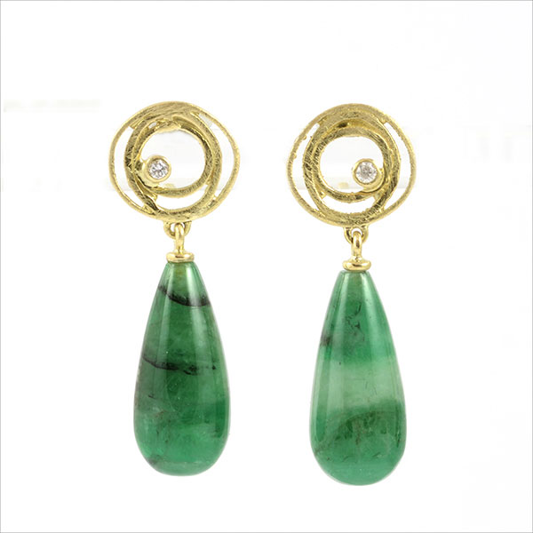 Smaragd gold emerald esmeralda pendientes ohrhänger earrings oro