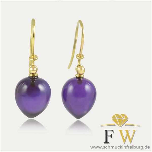 amethyst ohrhänger ohrschmuck earrings gold lila violett violet schmuck handmade handarbeit goldschmied freiburg