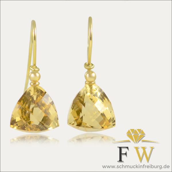 citrine citrin ohrhänger ohrschmuck earrings gold schmuck handmade handarbeit goldschmied freiburg