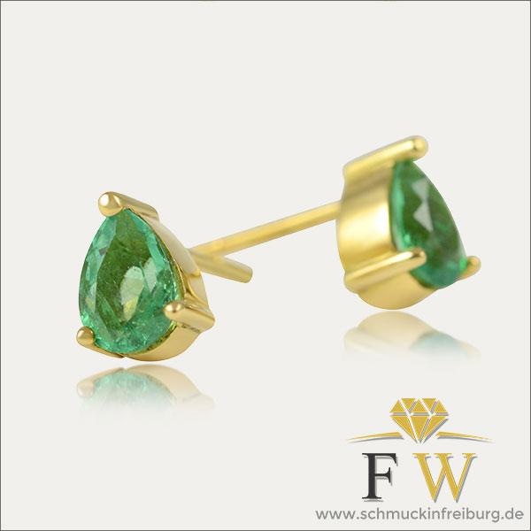 smaragd ohrstecker emerald earrings gold grün green schmuck handmade handarbeit goldschmied freiburg