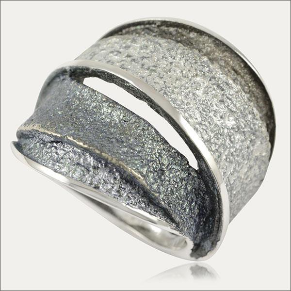 Troia Ring breit enamel  ring mit email sortija con esmalte silber silver