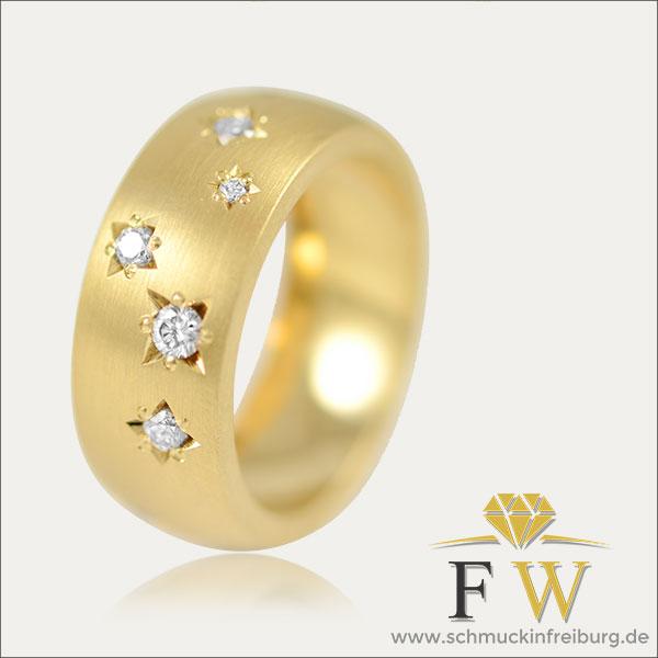 Sternhimmelring brillantring ring gold goldring cognac diamanten cognacdiamanten cognacbrillanten braun braunebrillanten braunediamanten sternhimmel handmade handarbeit
