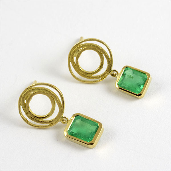 Smaragd emerald esmeralda ohrstecker pendientes earrings gold oro