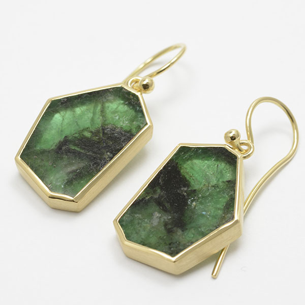 Smaragd Scheiben Gold earrings Ohrschmuck Ohrhänger Unikat handmade Handarbeit
