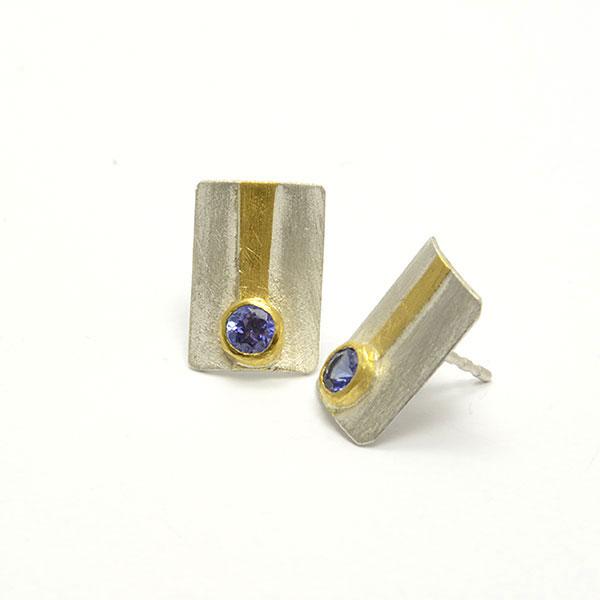 Tansanit Stecker Earring Silber Gold Feingold Handmade