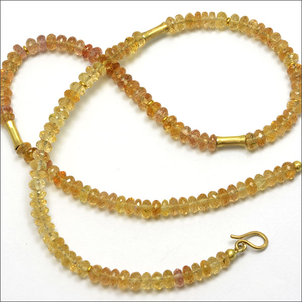 topas kollier collier orange yellow gelb gold necklace kette schmuck handmade handarbeit