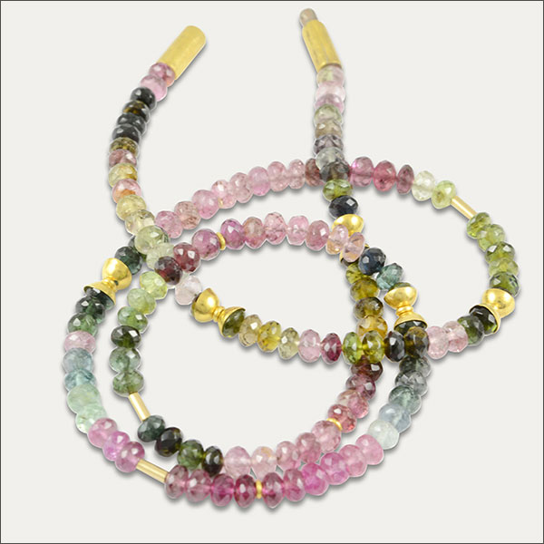 turmalin tourmaline kollier collier bunt colorful gold schmuck handmade handarbeit goldschmied freiburg
