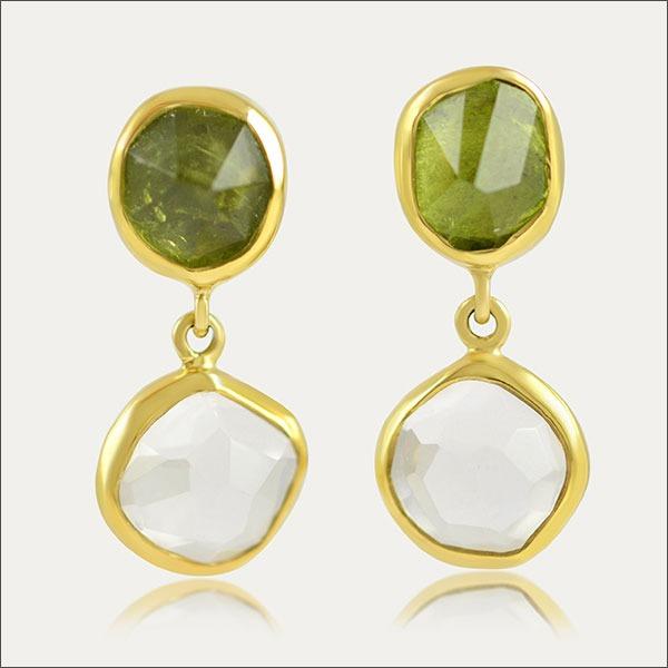 bergkristall ohrhänger weiß white grün green peridot gold ohrstecker earrings schmuck handmade handarbeit goldschmied freiburg