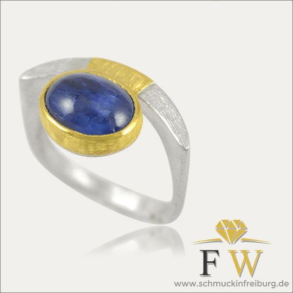kyanit ring blau blue gold silber silver schmuck handmade handarbeit goldschmied freiburg