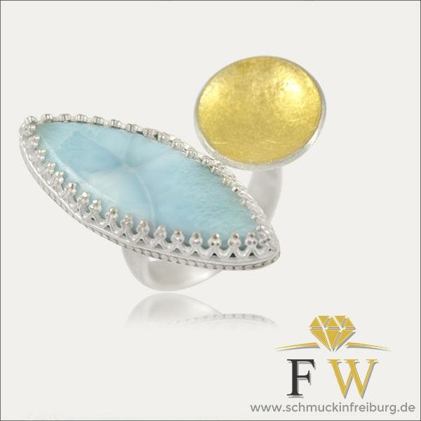 larimar ring gold silber silver blau blue schmuck handmade handarbeit goldschmied freiburg