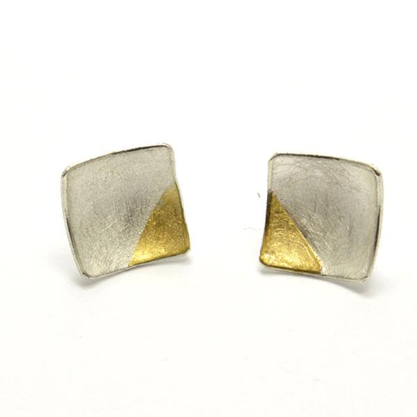 silber silver gold earring ohrstecker handmade handarbeit