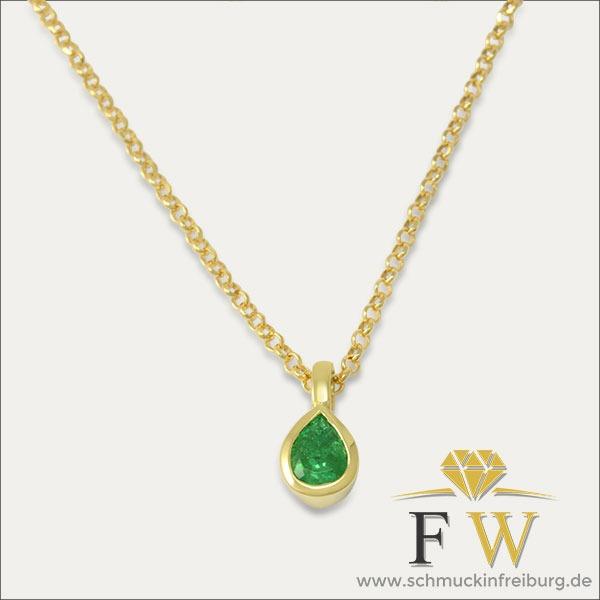 smaragd anhänger pendant emerald grün green gold schmuck handmade handarbeit goldschmied freiburg