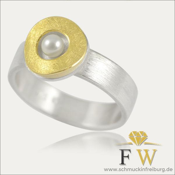 perle pearl ring gold silver silber schmuck handmade handarbeit goldschmied freiburg