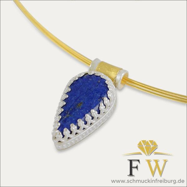lapislazuli anhänger pendant blau blue silber silver gold schmuck handmade handarbeit goldschmied freiburg