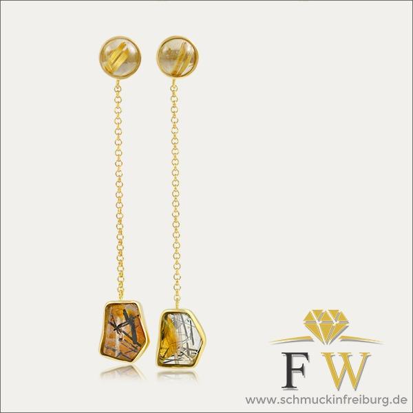 rutilquarz ohrhänger earrings gold schmuck handmade handarbeit goldschmied freiburg exclusive exklusiv beautiful